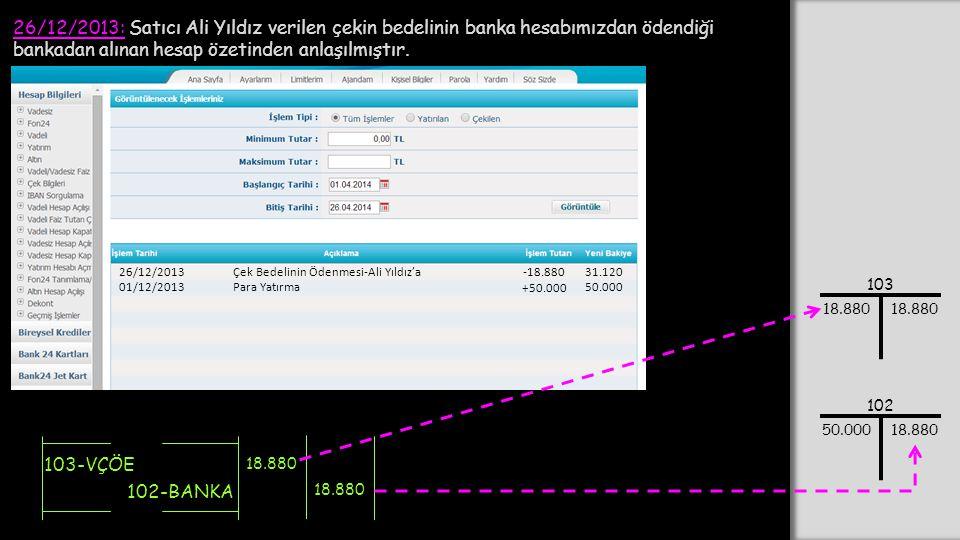 26/12/2013: Satıcı Ali Yıldız verilen çekin bedelinin banka hesabımızdan ödendiği bankadan alınan hesap özetinden anlaşılmıştır.
