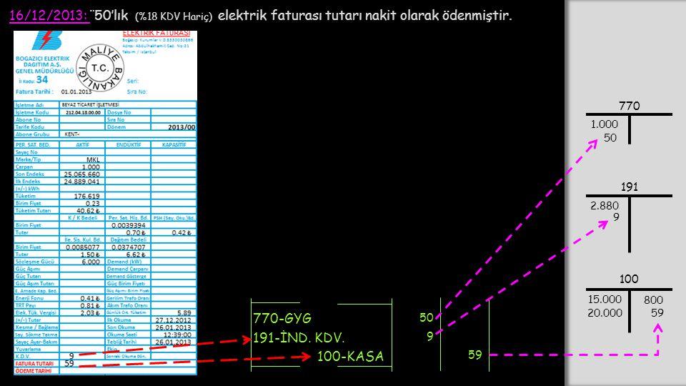 16/12/2013: ¨50'lık (%18 KDV Hariç) elektrik faturası tutarı nakit olarak ödenmiştir.