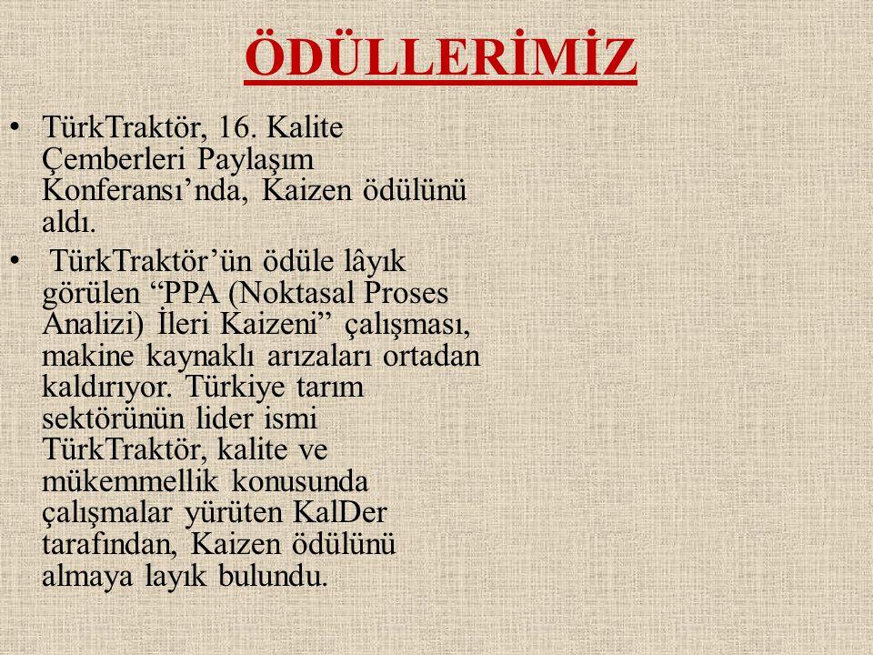 ÖDÜLLERİMİZ TürkTraktör, 16. Kalite Çemberleri Paylaşım Konferansı'nda, Kaizen ödülünü aldı.
