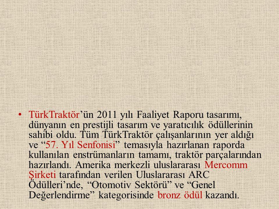 TürkTraktör'ün 2011 yılı Faaliyet Raporu tasarımı, dünyanın en prestijli tasarım ve yaratıcılık ödüllerinin sahibi oldu.