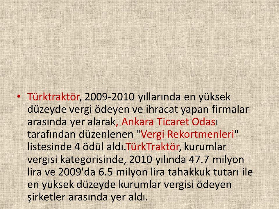 Türktraktör, 2009-2010 yıllarında en yüksek düzeyde vergi ödeyen ve ihracat yapan firmalar arasında yer alarak, Ankara Ticaret Odası tarafından düzenlenen Vergi Rekortmenleri listesinde 4 ödül aldı.TürkTraktör, kurumlar vergisi kategorisinde, 2010 yılında 47.7 milyon lira ve 2009 da 6.5 milyon lira tahakkuk tutarı ile en yüksek düzeyde kurumlar vergisi ödeyen şirketler arasında yer aldı.