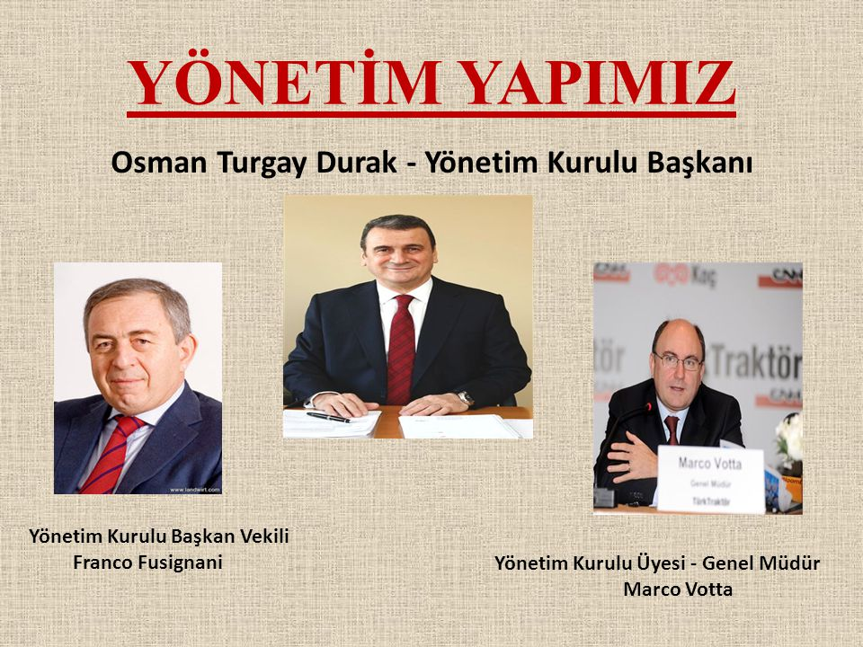 YÖNETİM YAPIMIZ Osman Turgay Durak - Yönetim Kurulu Başkanı