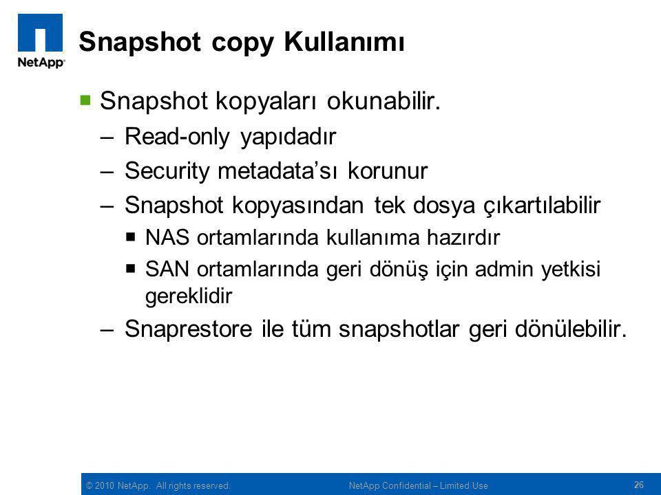Snapshot copy Kullanımı