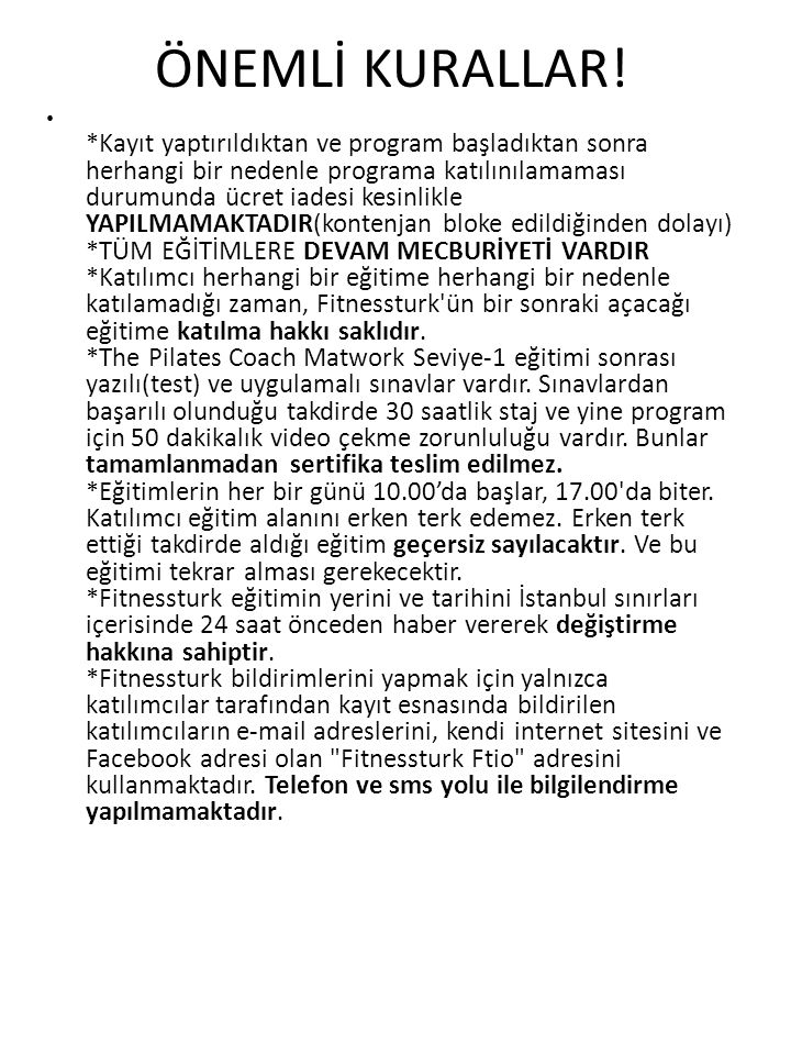 ÖNEMLİ KURALLAR!