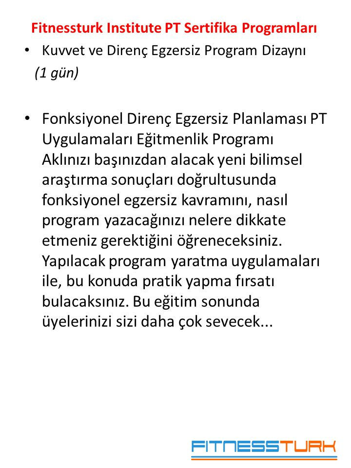 Fitnessturk Institute PT Sertifika Programları