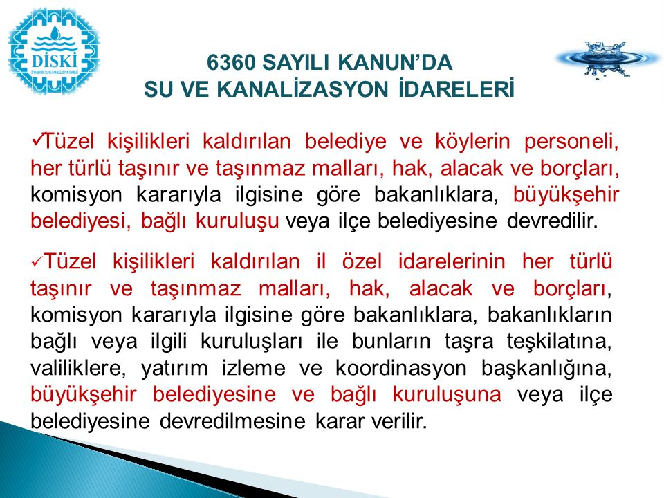 SU VE KANALİZASYON İDARELERİ