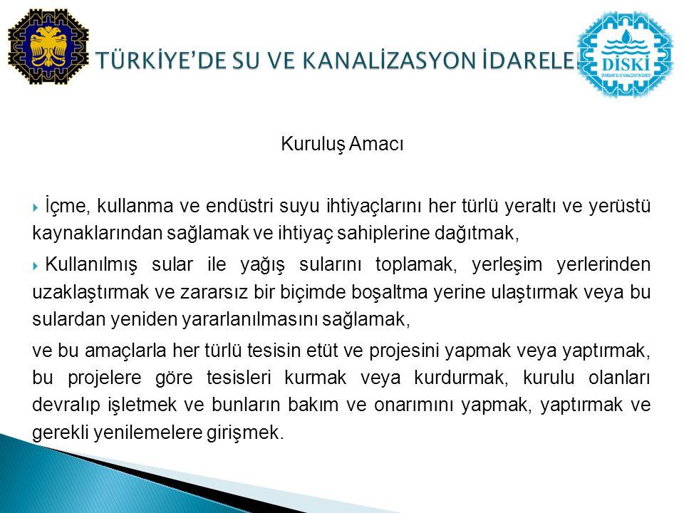 TÜRKİYE'DE SU VE KANALİZASYON İDARELERİ