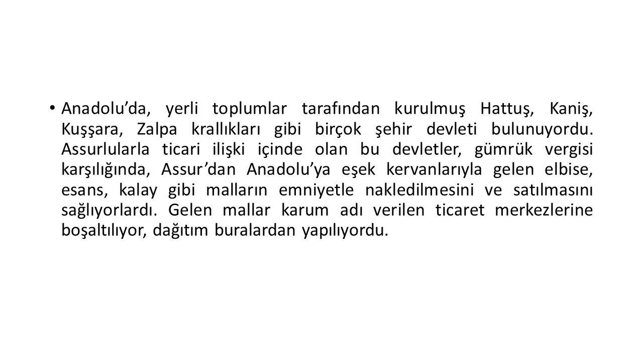 Anadolu'da, yerli toplumlar tarafından kurulmuş Hattuş, Kaniş, Kuşşara, Zalpa krallıkları gibi birçok şehir devleti bulunuyordu.