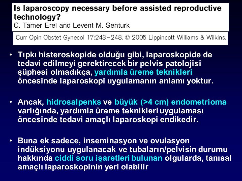 Tıpkı histeroskopide olduğu gibi, laparoskopide de tedavi edilmeyi gerektirecek bir pelvis patolojisi şüphesi olmadıkça, yardımla üreme teknikleri öncesinde laparoskopi uygulamanın anlamı yoktur.