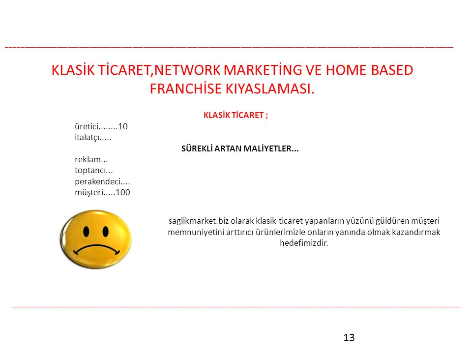 KLASİK TİCARET,NETWORK MARKETİNG VE HOME BASED FRANCHİSE KIYASLAMASI.