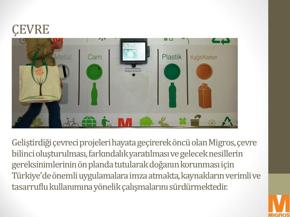 ÇEVRE Geliştirdiği çevreci projeleri hayata geçirerek öncü olan Migros, çevre bilinci oluşturulması, farkındalık yaratılması ve gelecek nesillerin gereksinimlerinin ön planda tutularak doğanın korunması için Türkiye'de önemli uygulamalara imza atmakta, kaynakların verimli ve tasarruflu kullanımına yönelik çalışmalarını sürdürmektedir.