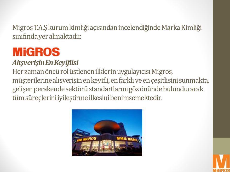 Migros T.A.Ş kurum kimliği açısından incelendiğinde Marka Kimliği sınıfında yer almaktadır.