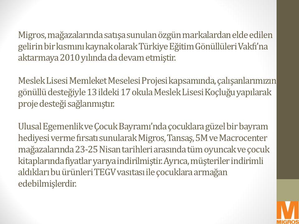 Migros, mağazalarında satışa sunulan özgün markalardan elde edilen gelirin bir kısmını kaynak olarak Türkiye Eğitim Gönüllüleri Vakfı'na aktarmaya 2010 yılında da devam etmiştir.