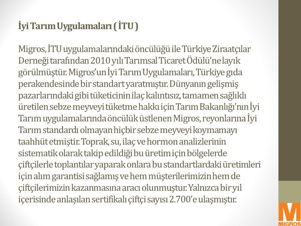 İyi Tarım Uygulamaları ( İTU ) Migros, İTU uygulamalarındaki öncülüğü ile Türkiye Ziraatçılar Derneği tarafından 2010 yılı Tarımsal Ticaret Ödülü'ne layık görülmüştür.