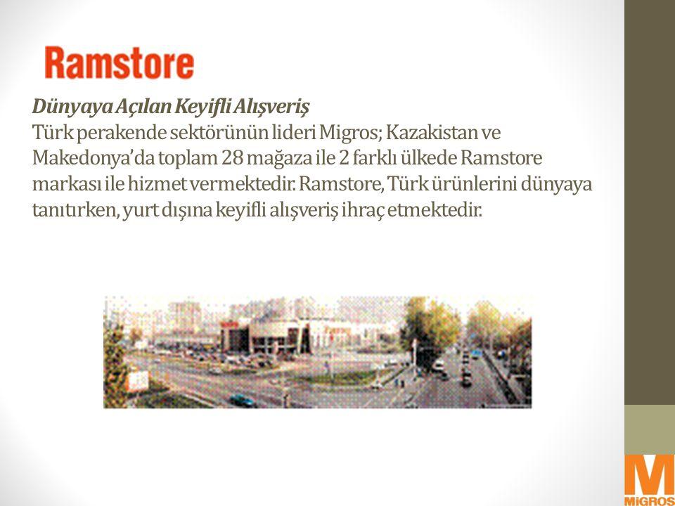 Dünyaya Açılan Keyifli Alışveriş Türk perakende sektörünün lideri Migros; Kazakistan ve Makedonya'da toplam 28 mağaza ile 2 farklı ülkede Ramstore markası ile hizmet vermektedir.