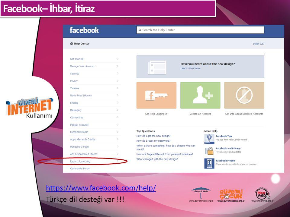 Facebook– İhbar, İtiraz