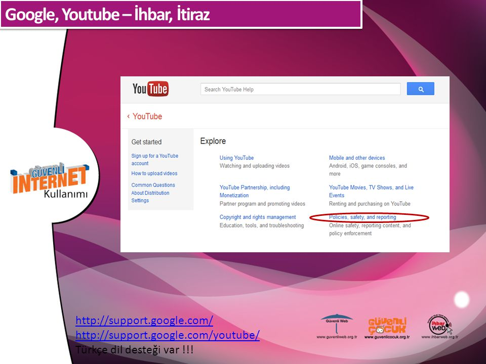 Google, Youtube – İhbar, İtiraz