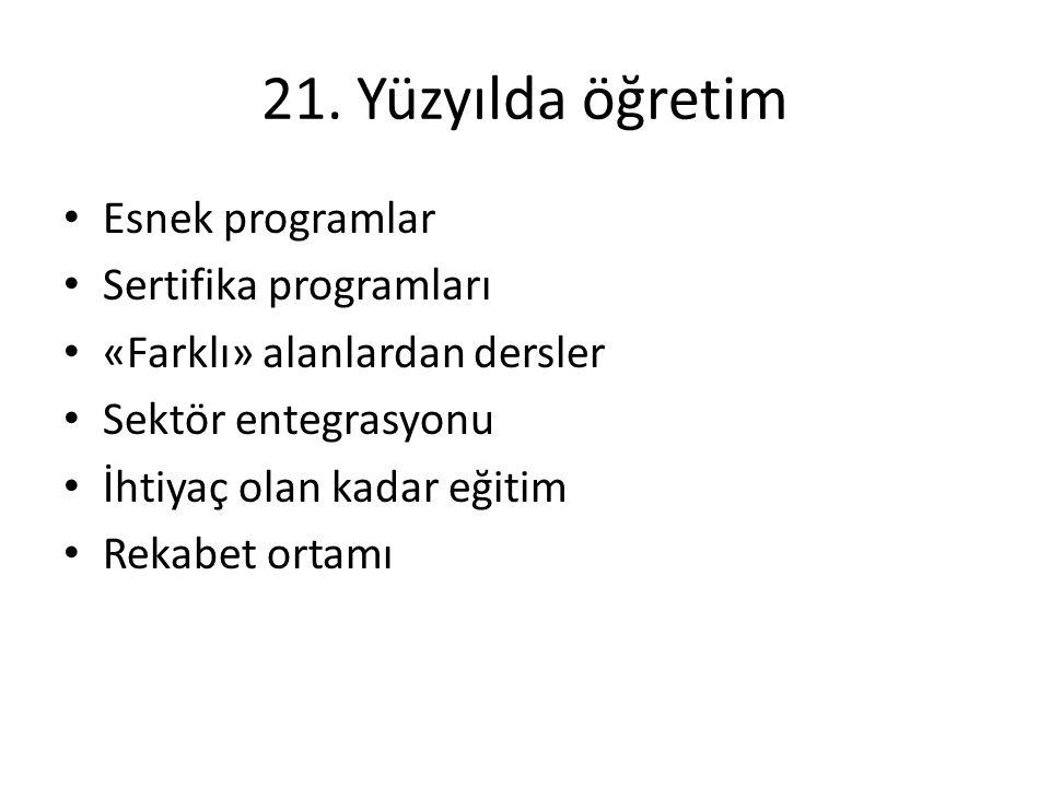 21. Yüzyılda öğretim Esnek programlar Sertifika programları