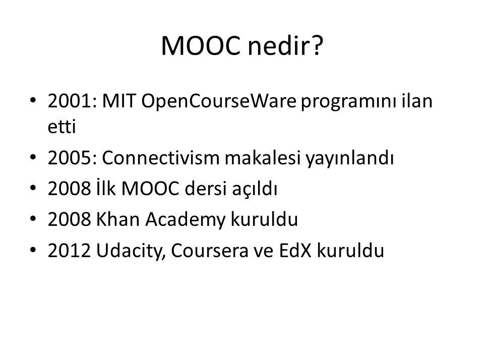 MOOC nedir 2001: MIT OpenCourseWare programını ilan etti