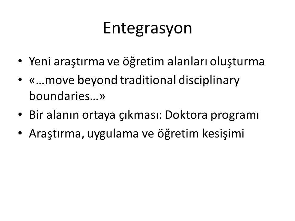 Entegrasyon Yeni araştırma ve öğretim alanları oluşturma