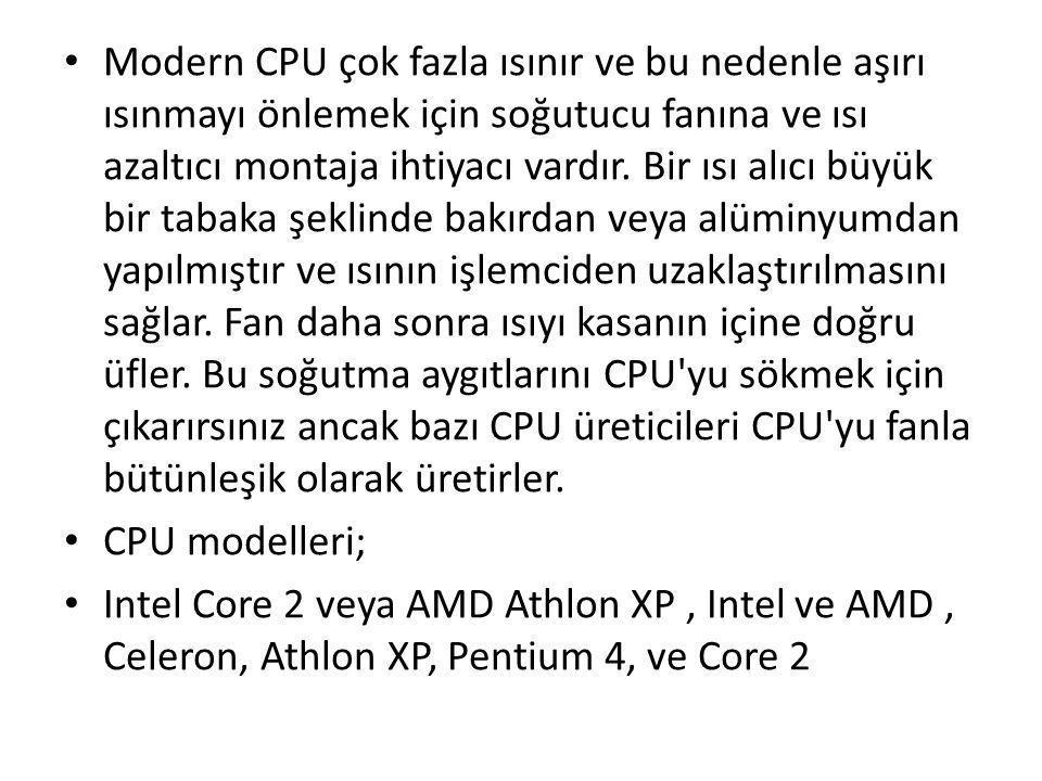 Modern CPU çok fazla ısınır ve bu nedenle aşırı ısınmayı önlemek için soğutucu fanına ve ısı azaltıcı montaja ihtiyacı vardır. Bir ısı alıcı büyük bir tabaka şeklinde bakırdan veya alüminyumdan yapılmıştır ve ısının işlemciden uzaklaştırılmasını sağlar. Fan daha sonra ısıyı kasanın içine doğru üfler. Bu soğutma aygıtlarını CPU yu sökmek için çıkarırsınız ancak bazı CPU üreticileri CPU yu fanla bütünleşik olarak üretirler.
