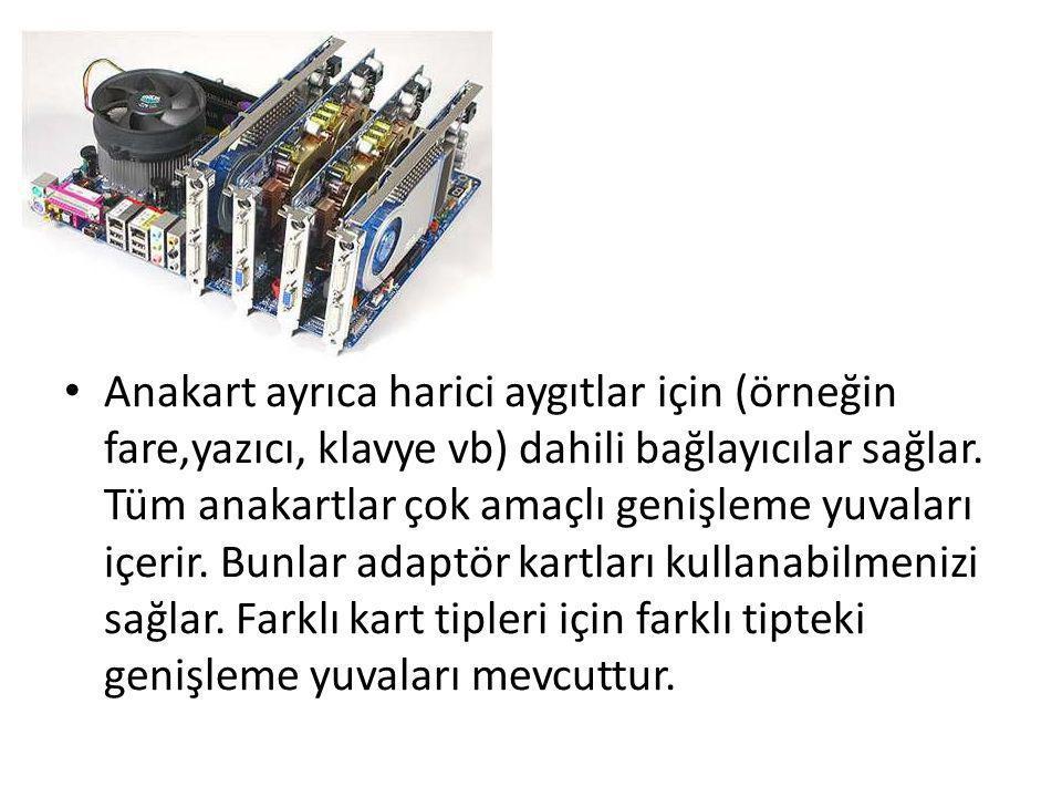 Anakart ayrıca harici aygıtlar için (örneğin fare,yazıcı, klavye vb) dahili bağlayıcılar sağlar.