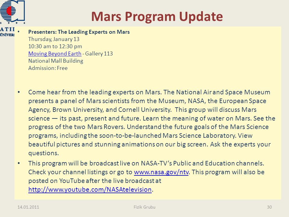 Mars Program Update