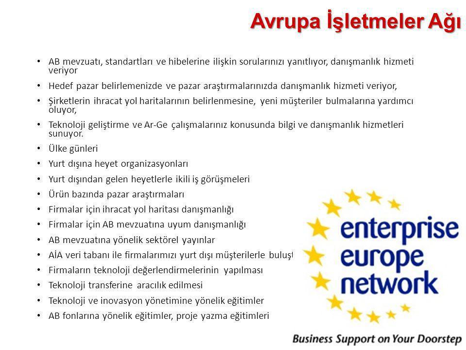 Avrupa İşletmeler Ağı AB mevzuatı, standartları ve hibelerine ilişkin sorularınızı yanıtlıyor, danışmanlık hizmeti veriyor.