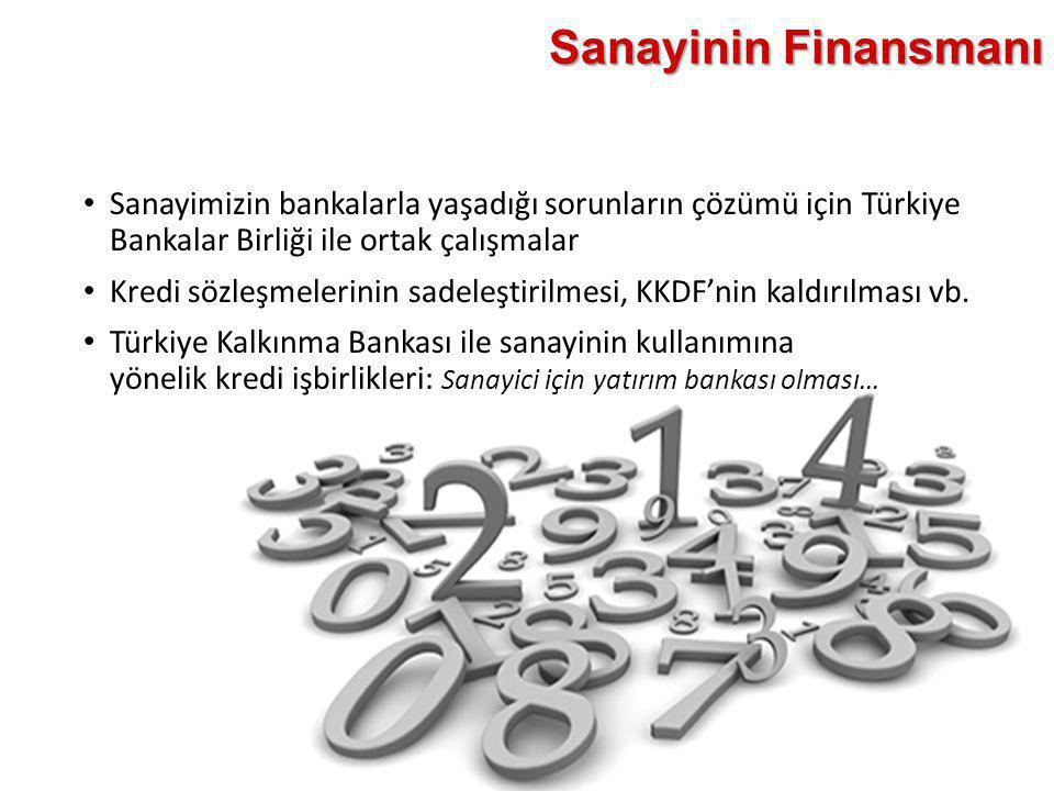 Sanayinin Finansmanı Sanayimizin bankalarla yaşadığı sorunların çözümü için Türkiye Bankalar Birliği ile ortak çalışmalar.
