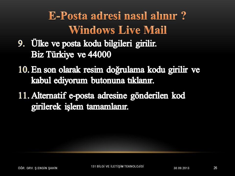 E-Posta adresi nasıl alınır Windows Live Mail