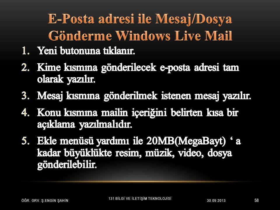 E-Posta adresi ile Mesaj/Dosya Gönderme Windows Live Mail