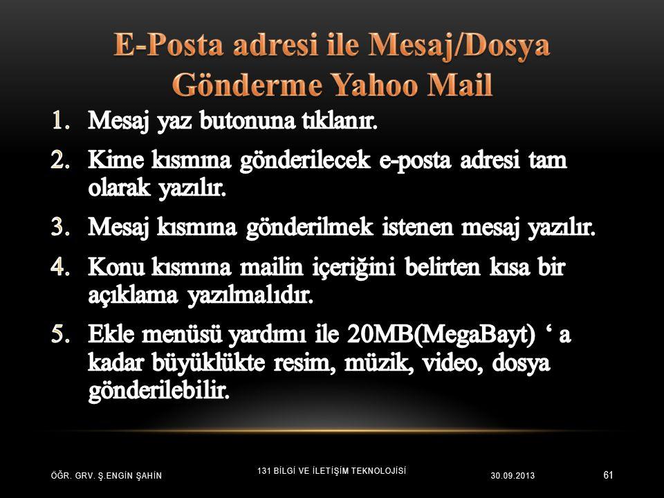E-Posta adresi ile Mesaj/Dosya Gönderme Yahoo Mail