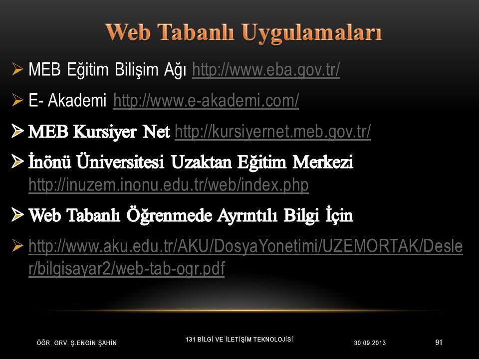 Web Tabanlı Uygulamaları
