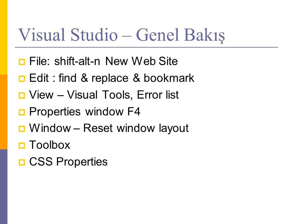Visual Studio – Genel Bakış