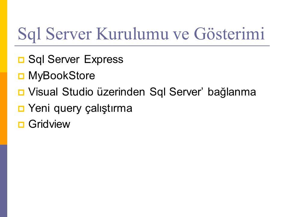 Sql Server Kurulumu ve Gösterimi
