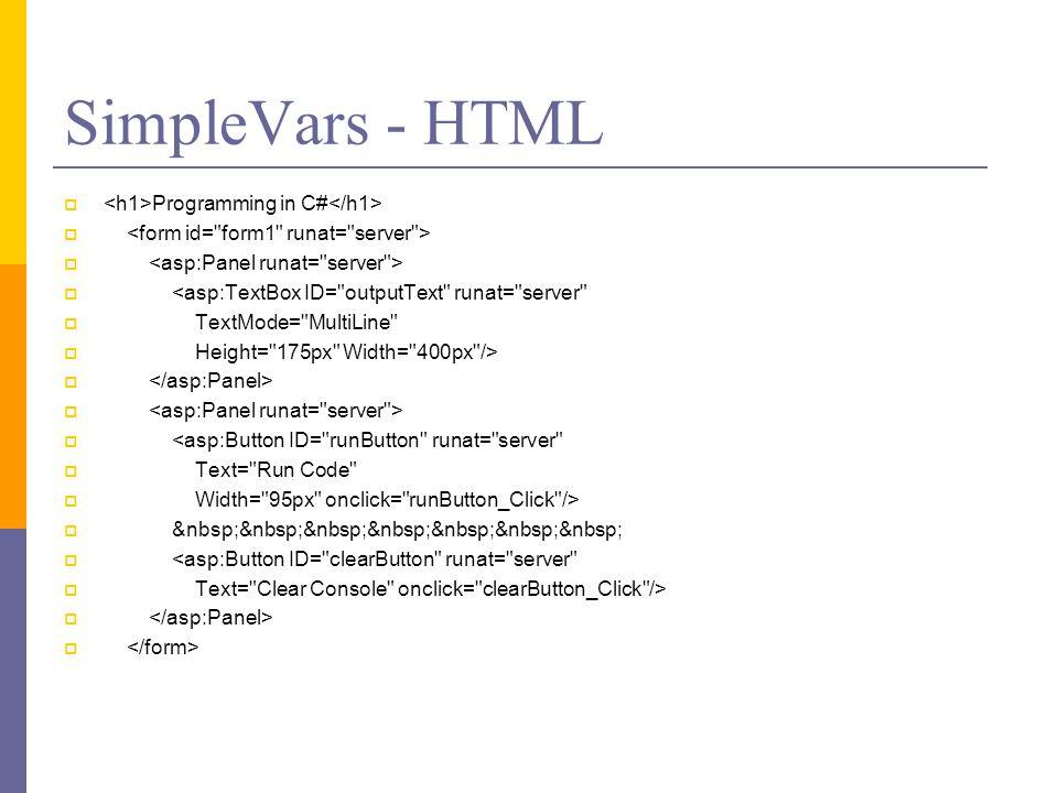 SimpleVars - HTML <h1>Programming in C#</h1>