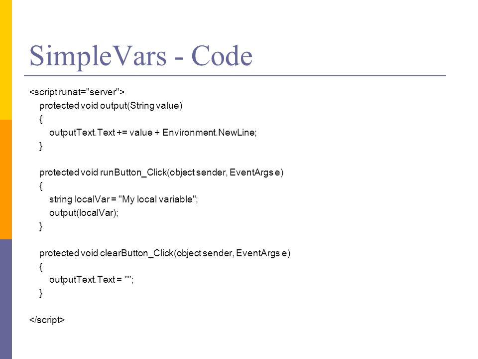 SimpleVars - Code