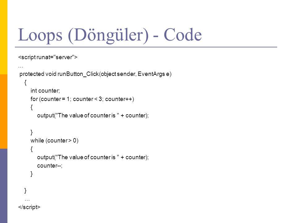 Loops (Döngüler) - Code