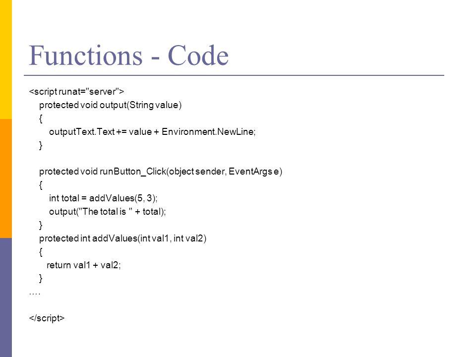 Functions - Code