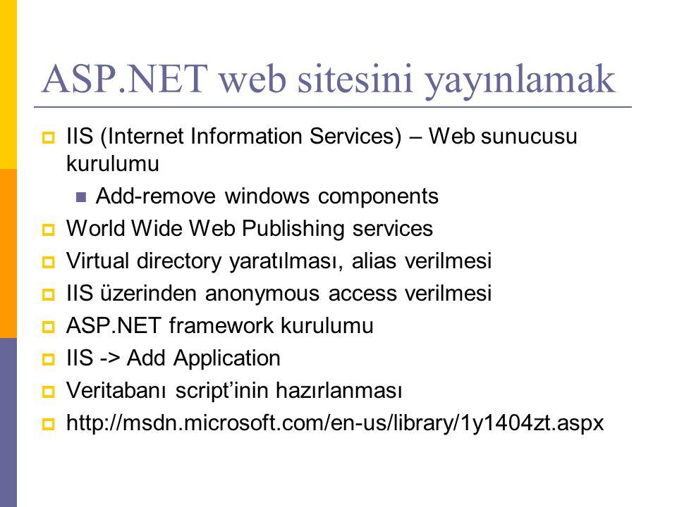 ASP.NET web sitesini yayınlamak