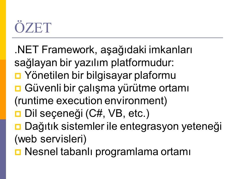ÖZET .NET Framework, aşağıdaki imkanları sağlayan bir yazılım platformudur: Yönetilen bir bilgisayar plaformu.