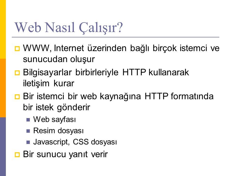 Web Nasıl Çalışır WWW, Internet üzerinden bağlı birçok istemci ve sunucudan oluşur. Bilgisayarlar birbirleriyle HTTP kullanarak iletişim kurar.