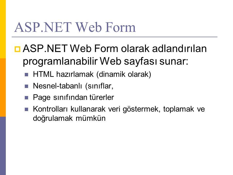 ASP.NET Web Form ASP.NET Web Form olarak adlandırılan programlanabilir Web sayfası sunar: HTML hazırlamak (dinamik olarak)