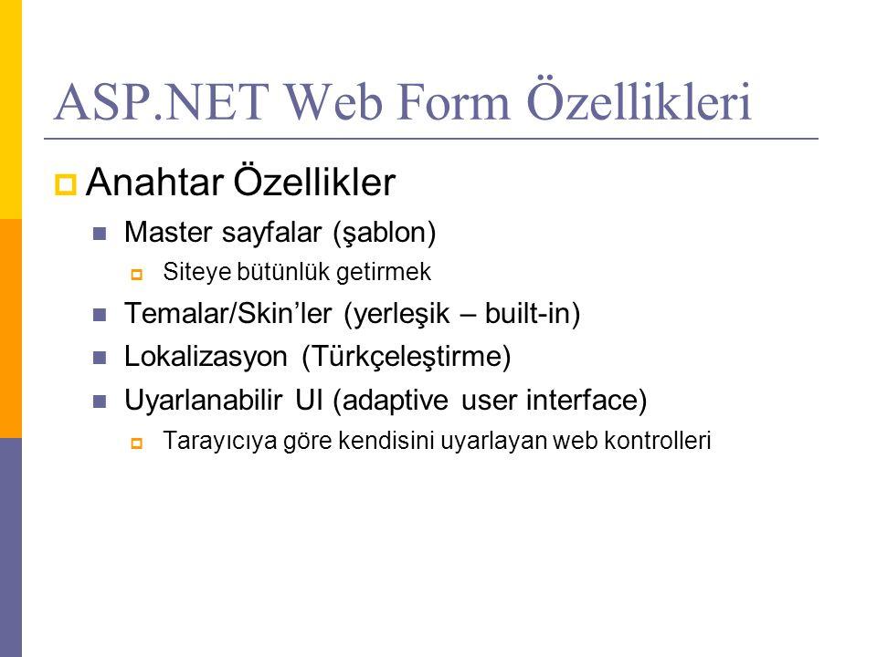 ASP.NET Web Form Özellikleri