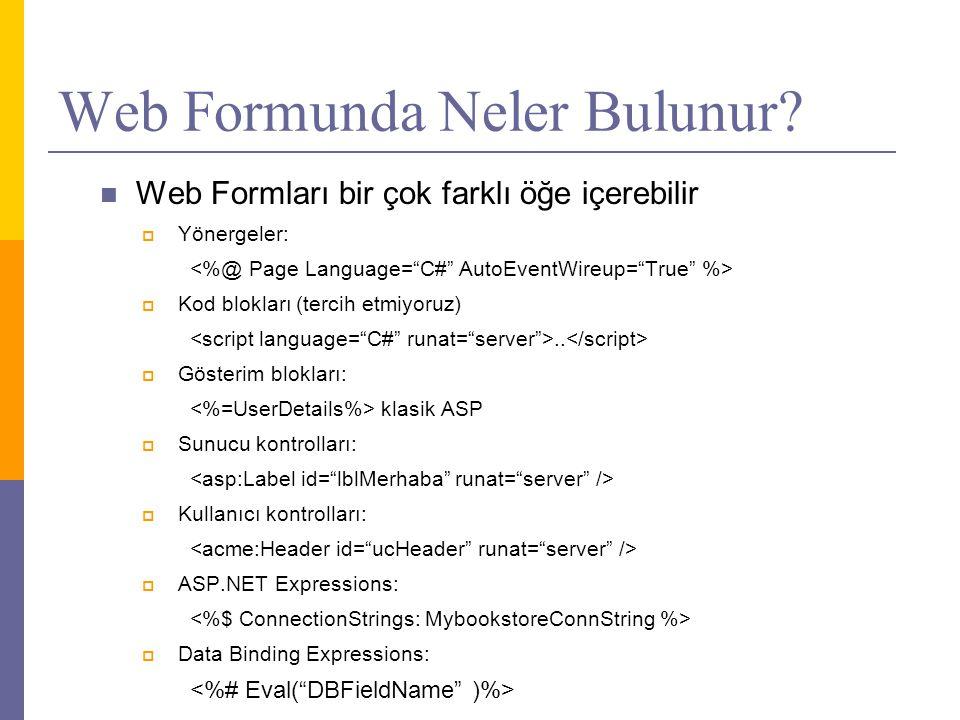 Web Formunda Neler Bulunur