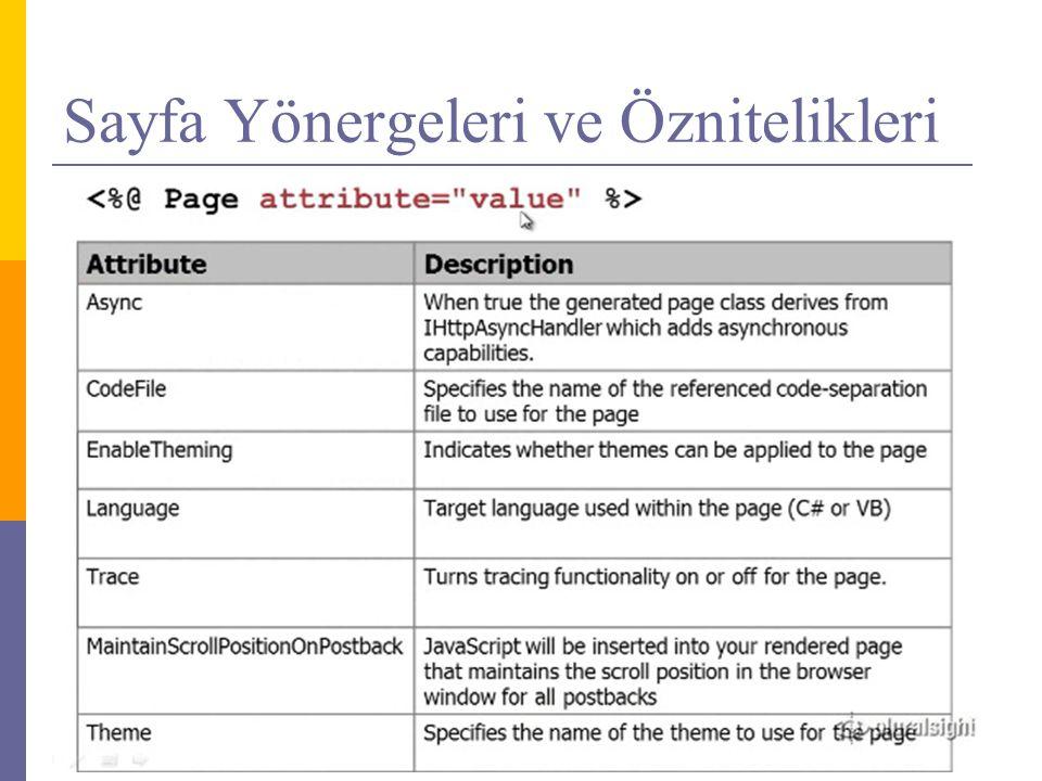 Sayfa Yönergeleri ve Öznitelikleri