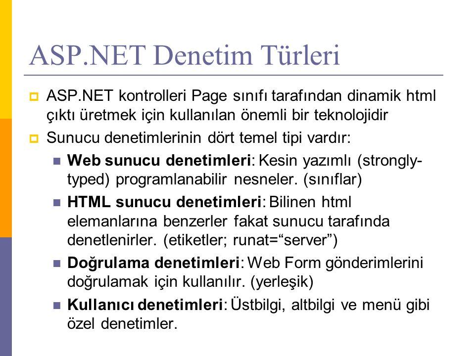 ASP.NET Denetim Türleri