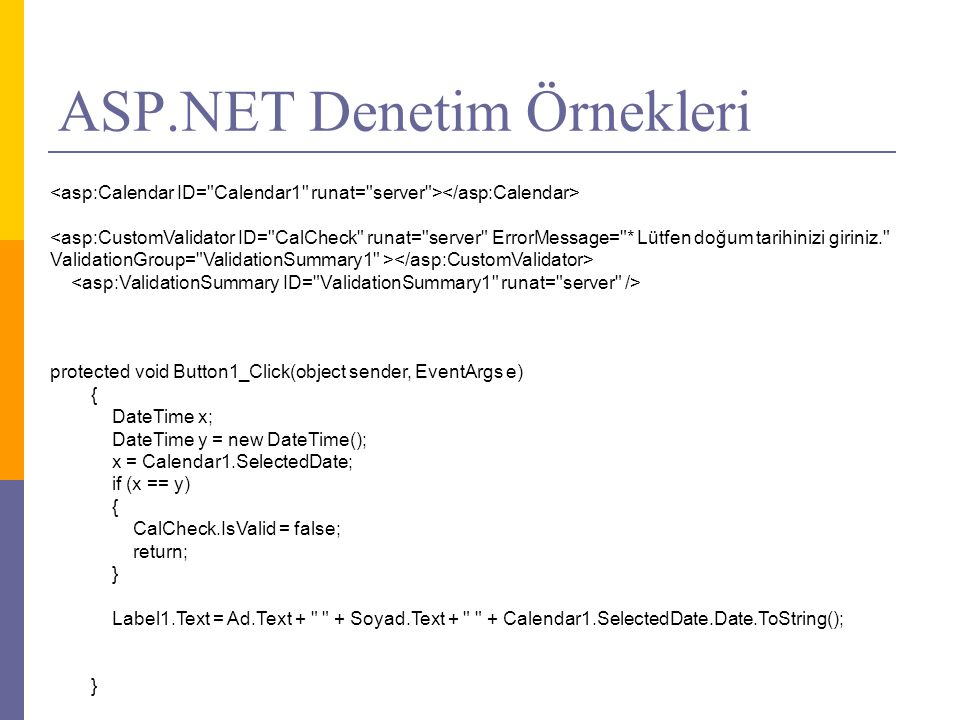 ASP.NET Denetim Örnekleri