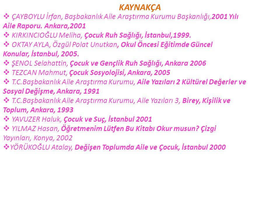 KAYNAKÇA ÇAYBOYLU İrfan, Başbakanlık Aile Araştırma Kurumu Başkanlığı,2001 Yılı. Aile Raporu. Ankara,2001.
