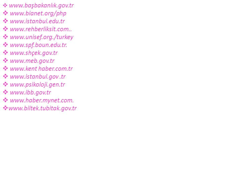 www.bianet.org/php www.istanbul.edu.tr www.rehberliksit.com..